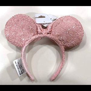Disney Accessories - NWT Millennial Pink Full Sequin Minnie Mouse Ears